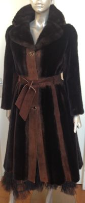 Tissavel France suede coat with faux fur