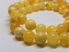 Baltic natural amber necklace, in yellow- white colour, 24 grams