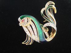 Vintage 1970s - Attwood & Sawyer - UK - Gold plated Enameled fancy Fish Brooch with Diamante -Book/ catalogpiece