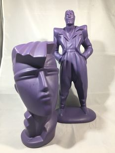 Purple ceramic Lindsey B Irmgard style bust and men sculpture