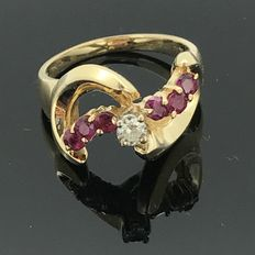 Natural diamond and Sapphire ring in 14 kt gold. No minimum price