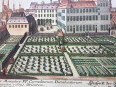 Unknown artist - Handcoloured engraving of an Formal Garden view - 18th century