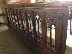Wooden communion rail in, from the chapel of Spermalie -Bruges, Belgium - chapel built in 1840