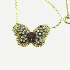 18 kt gold necklace with butterfly pendant and natural diamonds of 0.30 ct