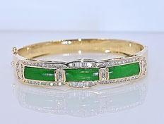 Fine Jadeite and Diamonds bracelet - Size: 16.5 cm - No reserve price!