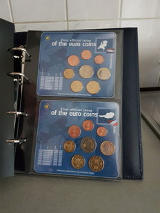 Europe, twelve sets of euro coins from the first twelve countries