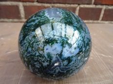 Natural green Moss Agate sphere - 8,5cm - 857gm