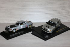 Minichamps/Ixo - Scale 1/43 - Lot with Mercedes-Benz 450 SLC Bandama Rally 1979 and Mercedes-Benz 190E , Nurburgring Anniversary Winner 1984