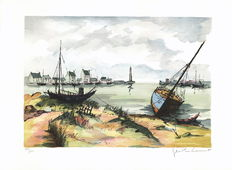 Jean-Pierre Laurent - Brittany, boats at low tide