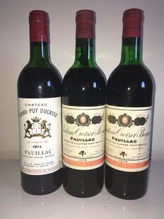 2 x 1976 Chateau Croizet Bages & 1974 Chateau Grand Puy Ducasse – 3 bottles in total.