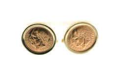 Vintage cuff links 916 and 585 gold with peso coins from 1945