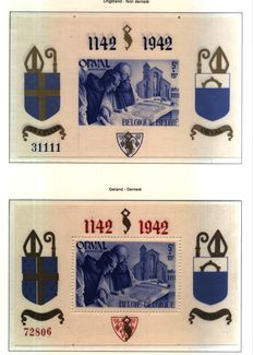 "Belgium 1942 ""Orval"" sheets, privately overprinted COB catalogue no. BL 18/25"