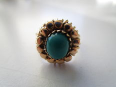 Rose gold ring 14 kt with malachite - 1940s.