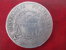 "France - 5 Francs - ""Bonaparte Premier Consul"" Year 12-K (1804) - Bordeaux - Silver"