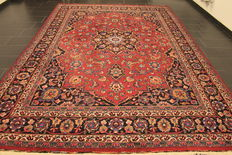Antique old handwoven Art Nouveau Persian Palace carpet Meshed 260 x 275 cm. Made in Iran