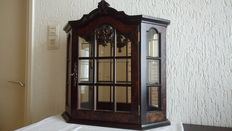Beautiful burl wood hanging display cabinet