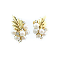Signed CORO - Earrings, Faux Pearls, Rhinestones, Matte Gold Tone, Clip Ons