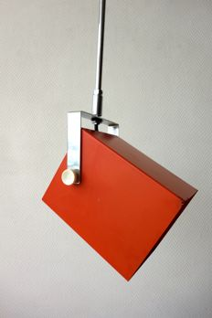 Unknown designer - metal trapeze pendant light - projector style - in orange and chrome.