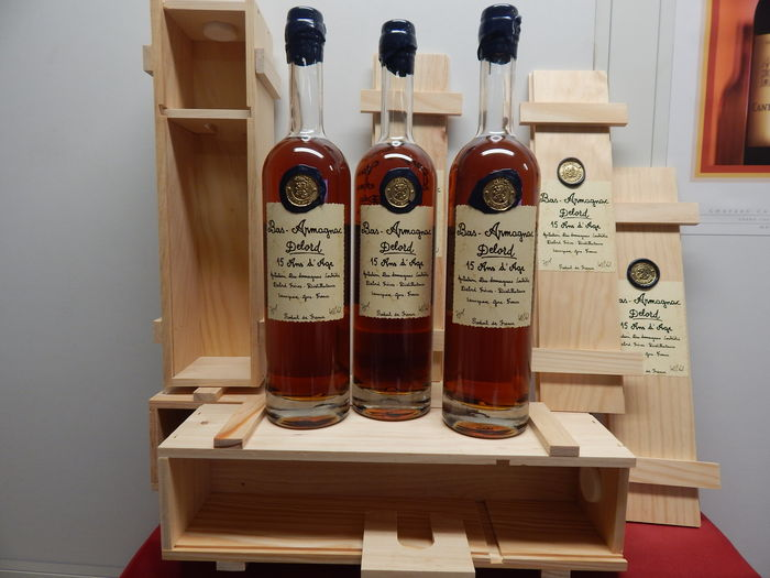 3 bottles Armagnac Delord 15 years old - In Wooden Box