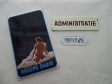 3 x enamel sign - PHILIPS RADIO - ADMINISTRATIE -PHOTOGRAPHE - 2nd half 20th century