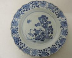 Blue & white plat with crane & birds - China - 18th century