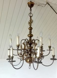 Large brass 6 light chandelier with curved arms