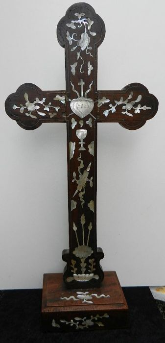 Antique French standing cross, fine wood with inlaid mother of pearl