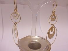 Gold earrings - partially enamelled
