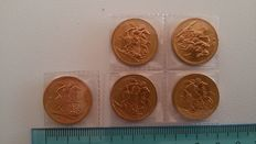 Great Britain, 1966 – Sovereign 'Elizabeth II' (lot of 5 coins) – Gold.