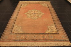 Antique, handwoven Turkish oriental carpet, Milas Kazak Ziegler pattern wool, naturally-coloured, 200 x 290 cm, circa 1960