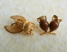 "Vintage MONET and Crown TRIFARI Gold Tone ""Little Beauties"" Animal Figural Small Brooches."