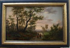 19th century French Barbizon School - Landscape Figures Dog