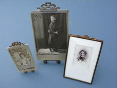 3 photo frames with bow - brass - ca. 1900