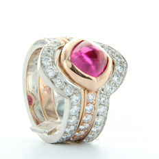 Saddal - 'Dolce', bicolour women's ring with pink tourmaline and diamond