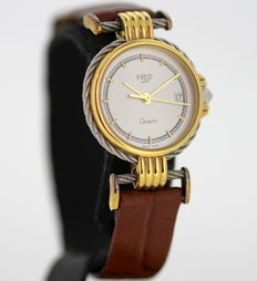 Fred Paris Quartz Swiss Made Ladies 18K Gold & Stainless Steel Wristwatch