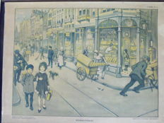 "Old School Poster on linen ""Shopping Street""  - 2nd Printing"