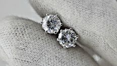 1.18 ct round diamond stud earrings 14 kt white gold *** no reserve price ***