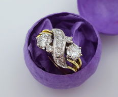 Extraordinary diamond ladies' ring 585/14kt yellow gold with 9 brilliants - approx. 1.28ct diamond in total - free shipping