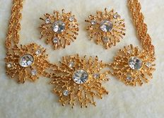 "Vintage Kenneth Jay Lane For Avon Gold Tone ""1992 Regal Riches Collection"" Earrings & Necklace Jewelry Set"