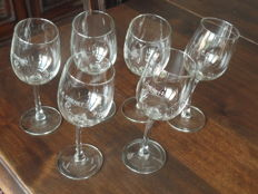 J.P. CHENET - Six rare crystal wine glasses.