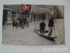 lot of 56 cards of the floods in Paris