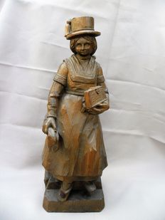 Wooden sculpture young woman - approx. 1950