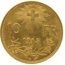 Switzerland – 10 francs 1915 B Helvetia – gold