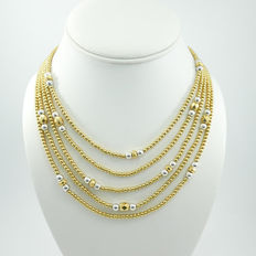 Signed JONES NEW YORK -  Necklace, Multi Strand, Gold Tone, Silver Tone beads.