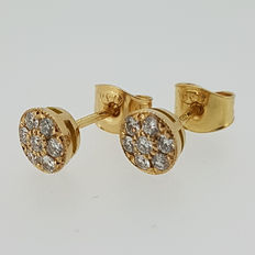 Diamond earrings in 18k red gold with 14 diamonds