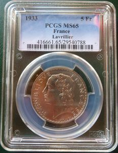 "France - 5 Francs ""Lavrillier"" 1933 PCGS MS65 - Nickel"