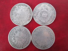France – 5 Francs 1830-W, 1849-BB, 1851-A & 1856-D (4 coins) – Silver