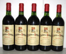 1982 Chateau des Lucques, Graves – Lot of 5 bottles.