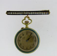 LeCoultre & Cie Swiss Pocket Watch 1870 with Brooch