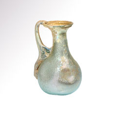 Roman Glass Jug with excellent iridescence, 7.6 cm H